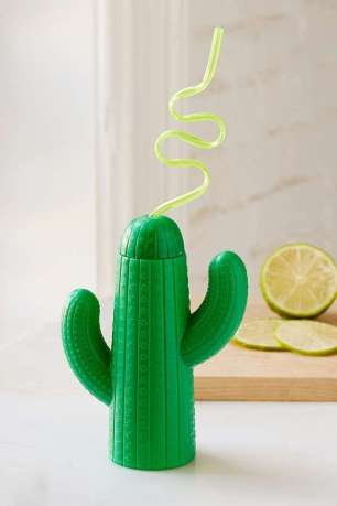 The green cactus drink sipper