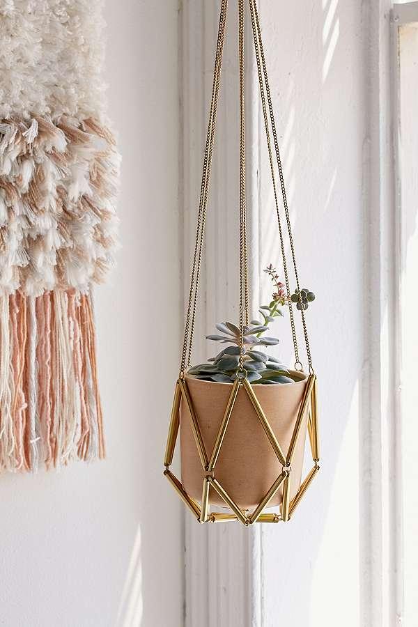 brass plant hanger macrame style
