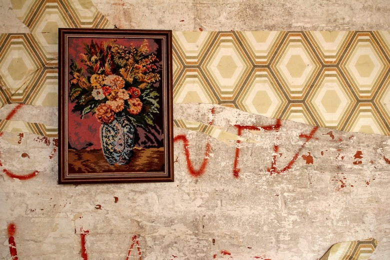 1970s wallpaper and floral vintage tapestry